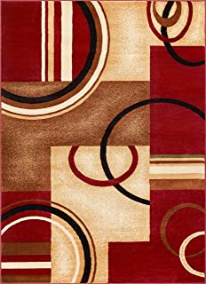 Deco Rings Red Geometric Modern Casual Area Rug 8x10 8x11 ( 7'10