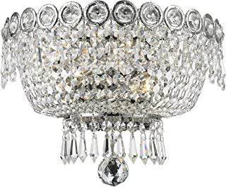 Worldwide Lighting Empire Collection 2 Light Chrome Finish and Clear Crystal Wall Sconce 12