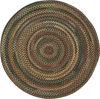 """Capel American Heritage Green Multi 7' 0"""" Round Braided Rug"""
