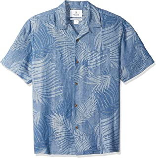 28 Palms Men's Relaxed-Fit Silk/Linen Tropical Leaves Jacquard Shirt