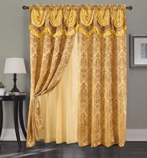 RT Designers Collection Sparta Textured Jacquard Rod Pocket Curtain Panel w/Attached 18 in. Valance in Gold