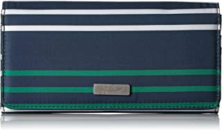 JuJuBe Be Rich Tri-Fold Wallet with Snap Enclosure, Coastal Collection - Providence - Navy/Teal/White Stripes