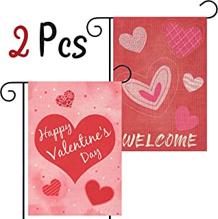 WATINC 2Pcs Happy Valentine's Day Garden Flag with Pink Hearts Welcome Valentine Party Decorations Double Sided Burlap Home Decorative Seasonal Valentines House Flags for Outdoor Yard 12.4 x 18.3 Inch