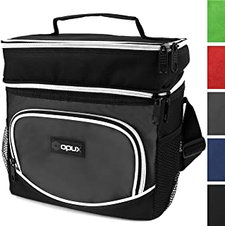 OPUX Insulated Dual Compartment Lunch Bag, Double Deck Lunch Box for Men, Women, Kids   Soft Leakproof Lunch Tote Cooler for Work, Office, School   Medium Reusable Lunch Pail, Fits 8 Cans (Grey)