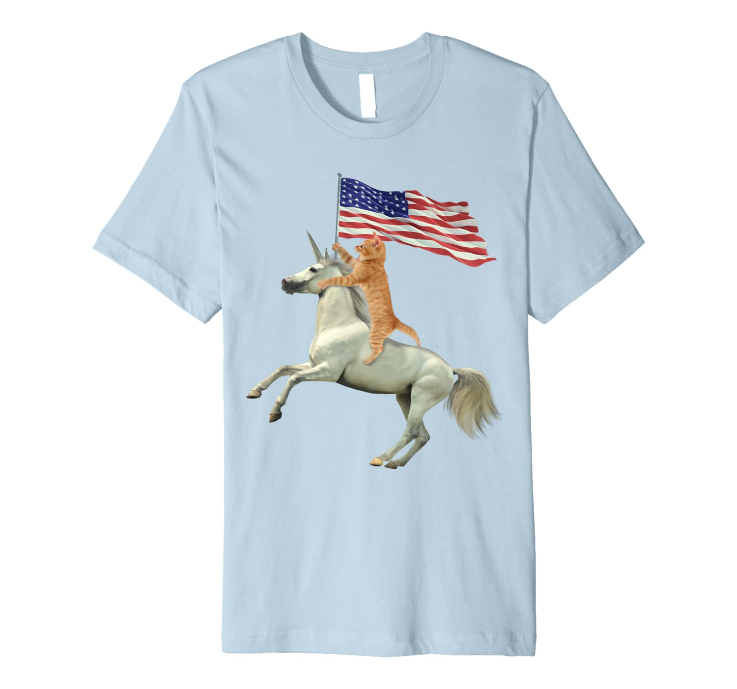 'Meowica Unicorn Cat' Funny July 4th Flag Shirt-ANZ