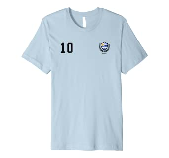 e980312a3 Image Unavailable. Image not available for. Color  Uruguay Soccer Jersey  2018 T-Shirt No. 10 Front and Back