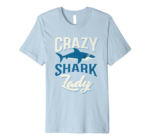 c4dba071 Amazon.com: Crazy Shark Lady Shirt   Cute I Heart Killer Fish Tee ...
