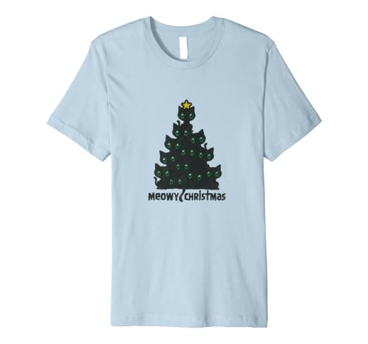 75594fac6 Image Unavailable. Image not available for. Color: Meowy Christmas Cat Tree  T-Shirt ...