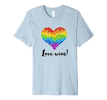 Love Wins Regenbogen Herz Lgbt T Shirt Für Frauen Männer Amazon