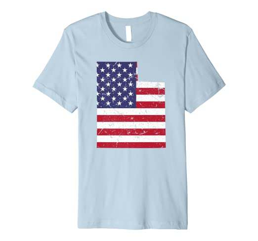 Amazon.com: Utah Map State American Flag Shirt 4th Of July ...