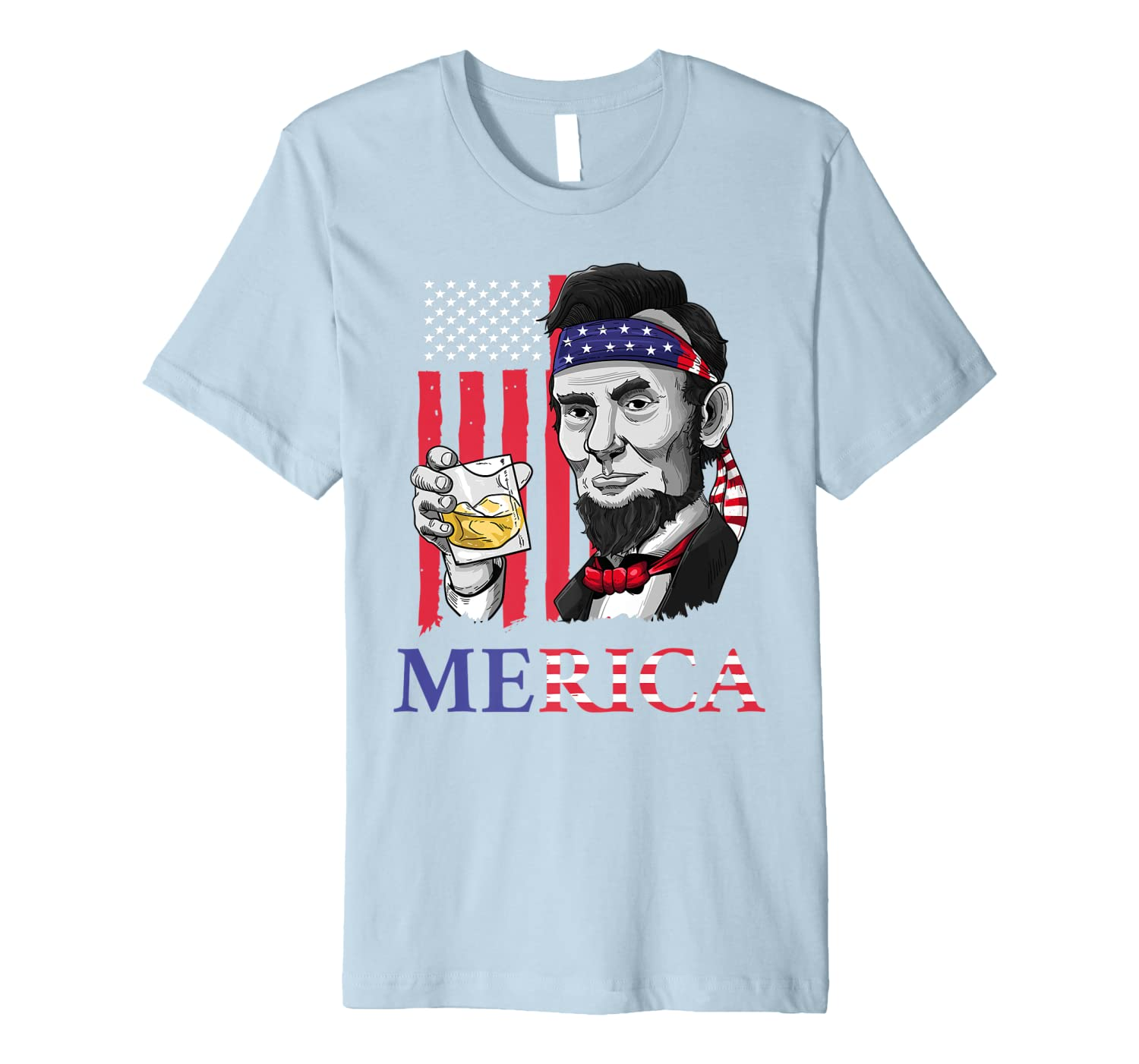 Merica Shirt  Abe Lincoln 4th of July Men Boys Gift Tee