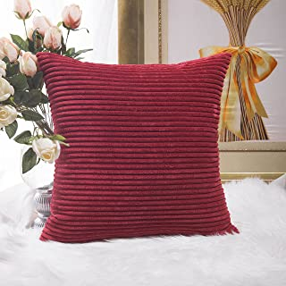 HOME BRILLIANT Decor Super Soft Plush Corduroy Striped Throw Pillow Cushion Covers for Sofa Couch Bed, 18 x 18 Inch (45x45), Dark Red