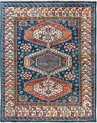 SAFAVIEH Samarkand Collection SRK119M Hand-Knotted Traditional Oriental Premium Wool Living Room Dining Bedroom Area Rug 8' x 10' Blue/Beige