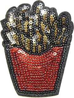 FRENCH FRIES Cooking Chef Sparkly Sequin Shine Shiny Patch Sew Iron on Embroidered Applique Craft Handmade Baby Kid Girl Women Sexy Lady Hip Hop Cloths DIY Costume Accessories