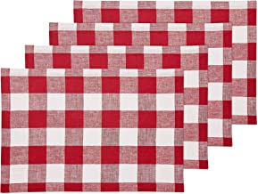 Solino Home 100% Pure Linen Buffalo Check Placemats – Red & White Check Placemat Set of 4, 14 x 19 Inch Tablemat for Dinner