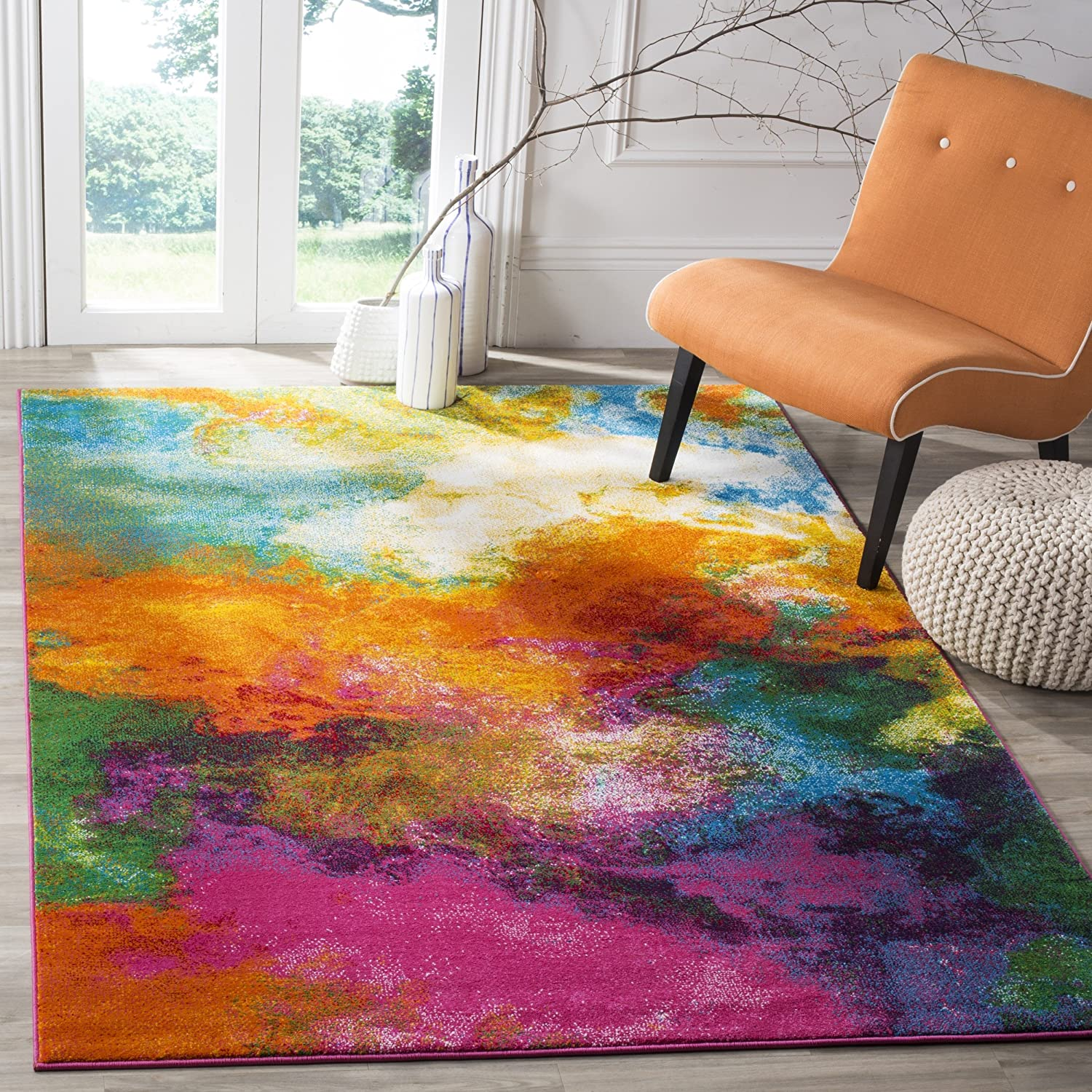 OFFer Safavieh Watercolor Collection WTC619D Colorful Boho Indefinitely No Abstract