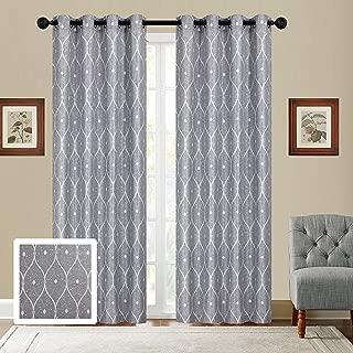Sapphire Home 2 Jacquard Grommet Window Curtain Drape Panels 84