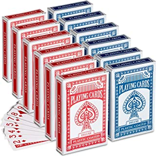 Mini Playing Cards - (Pack of 12) 2.5 Inch x 1.5 Inch Decks of Playing Cards, Small Travel Size, Bridge, Solitaire or Poke...
