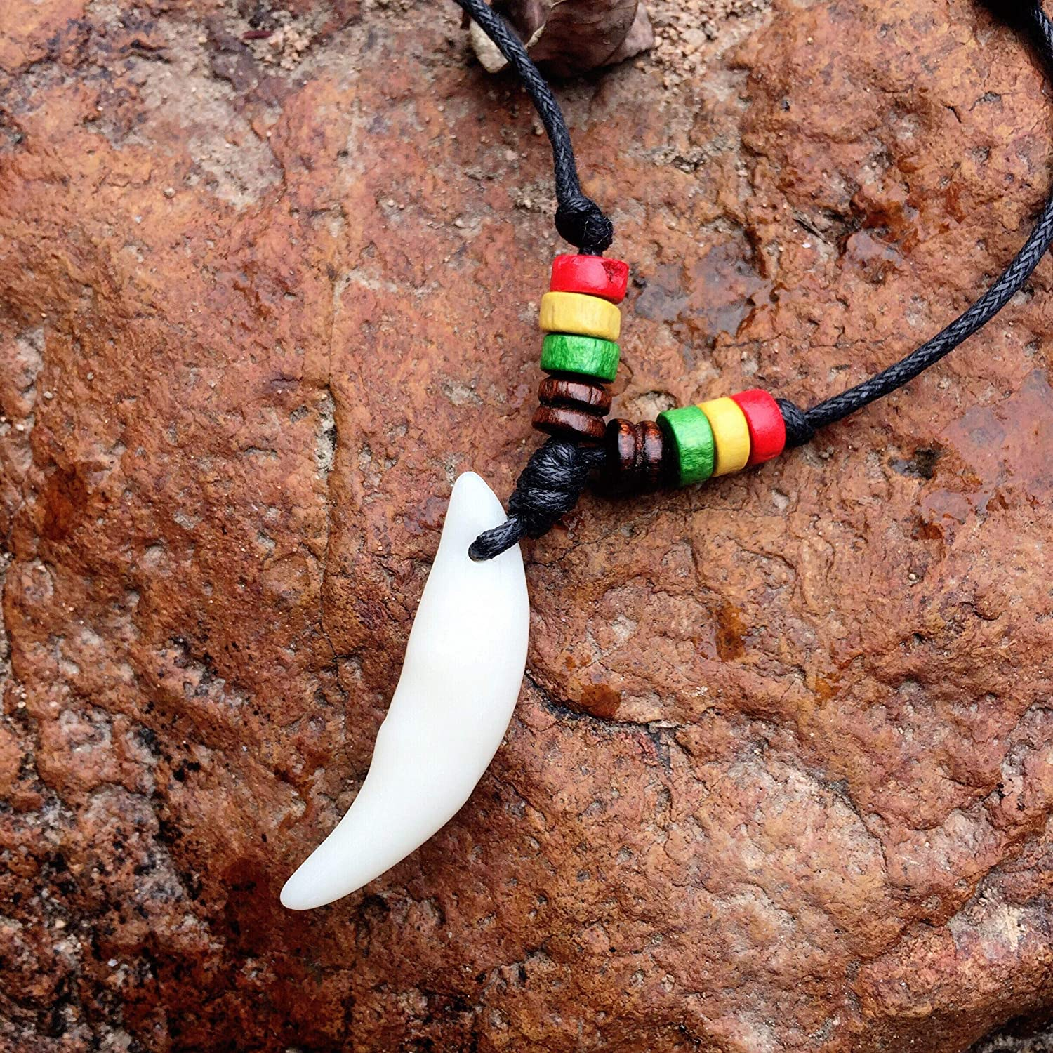 Resin wolf tooth pendant necklace Hemp Cord Chain
