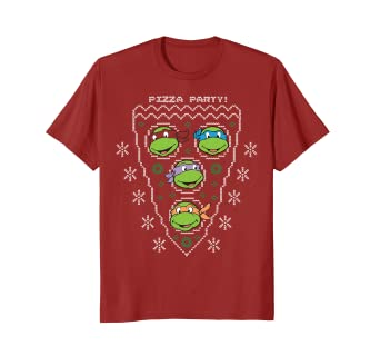 1581a0ee5 Image Unavailable. Image not available for. Color: Teenage Mutant Ninja  Turtles Pizza Party X-Mas Sweater Tee