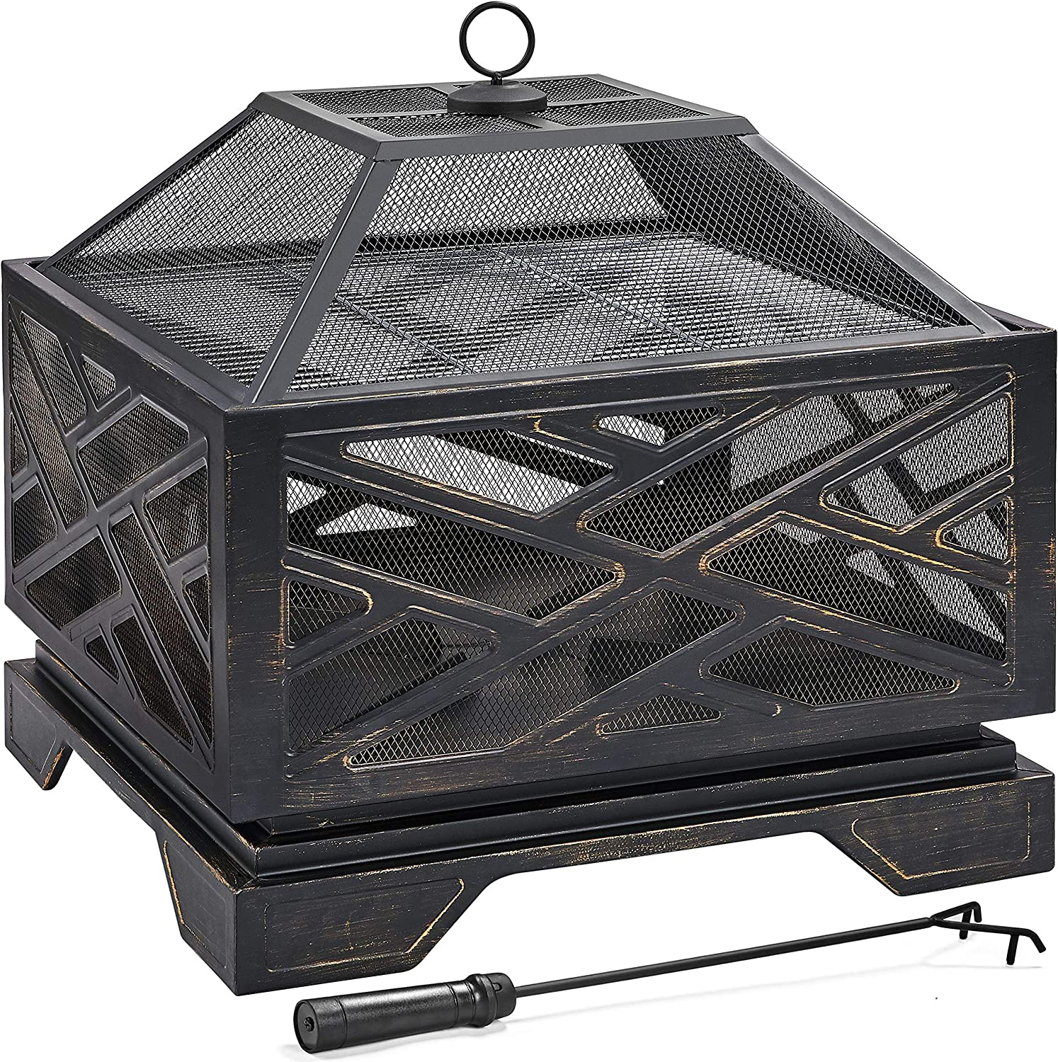 Yaheetech 26inch Outdoor Fireplace Metal Max 42% OFF W Fire Stove Max 49% OFF Deep Bowl
