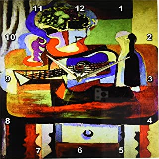 3dRose DPP_61846_2 Picasso Painting Bowl of Fruit N Guitar Wall Clock, 13 by 13