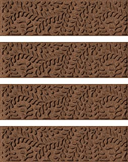Bungalow Flooring Waterhog Indoor/Outdoor Stair Treads, Set of 4, 8-1/2 x 30 inches, Made in USA, Skid Resistant, Easy to Clean, Catches Water and Debris, Boxwood Collection, Dark Brown