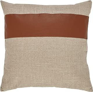 Rivet Industrial Throw Pillow - 17 x 17 Inch, Flax/Cognac