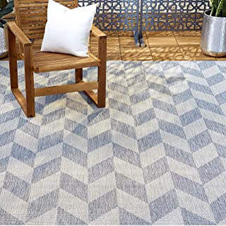 "Home Dynamix Patio Country Calla Contemporary Herringbone Indoor/Outdoor Area Rug, 5'2""x7'2"" Rectangle, Blue/Gray, 7 Feet"