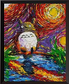 Uhomate My Neighbor Totoro Lakeside Hayao Miyazaki Wall Decor Vincent Van Gogh Starry Night Posters Home Canvas Wall Art Anniversary Gifts Baby Gift Nursery Decor Living Room Wall Decor A047 (13X19)