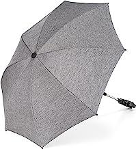 Universal Sonnenschirm Sonnenschutz für Kinderwagen & Buggy - UV Schutz 50 / 73 cm Durchmesser / biegsam / Universalhalterung für Rund- und Ovalrohre - Melange Grau