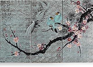 Sakura japonesa J168 - tríptico plateado, arte original, pinturas de estilo japonés del artista Ksavera