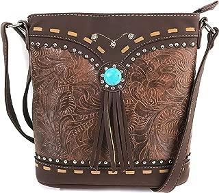 Tooled Western Leather Turquoise Stone Fringe Studded Shoulder Concealed Carry Handbag Purse