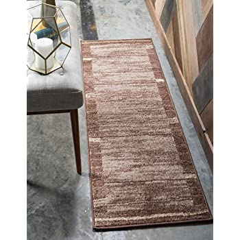 Unique Loom Autumn Collection Casual Border Rustic Warm Toned Brown Runner Rug (2' 0 x 6' 0)