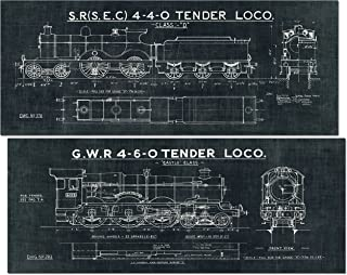 Gango Home Decor Black and White Train Blueprint Panels by Wild Apple Portfolio; Two 20x8in Unframed Paper Posters