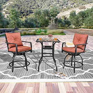 LOKATSE HOME Patio Bar Height 2 Outdoor Swivel Chairs and 1 High Glass Top Table, Red Cushion Set