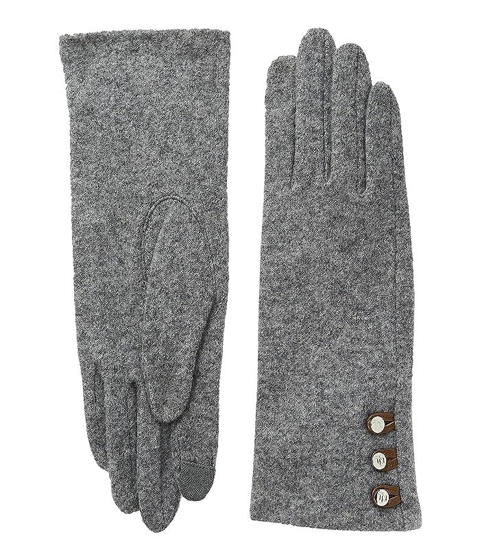 LAUREN Ralph Lauren  Three-Button Touch Gloves (Grey Heather) Wool Gloves
