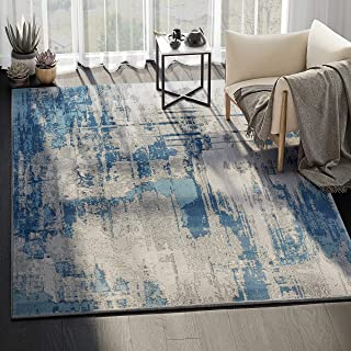 Abani Rugs Blue & Grey Vintage Abstract Motif Area Rug Rustic Contemporary Modern Style Accent, Vista Collection | Turkish Made Superior Comfort & Construction | 7'9