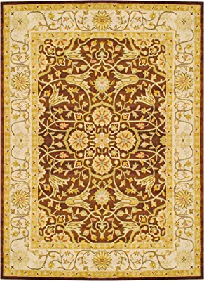 Amazon Com Herat Oriental Indo Hand Tufted Wool Rug 8 X 11 Brown Ivory Furniture Decor