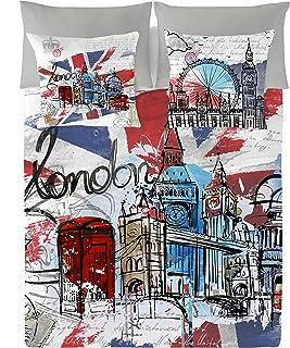 NATURALS London Graphic Funda Nórdica, Algodón, Multicolor, 90 cm