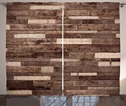 Ambesonne Wooden Curtains, Wall Floor Textured Planks Panels Picture Art Print Grain Cottage Lodge Hardwood Pattern, Living Room Bedroom Window Drapes 2 Panel Set, 108