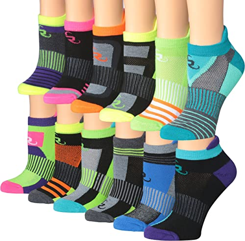 Ronnox Women's 12-Pairs Low Cut Running & Athletic Performance Tab Socks