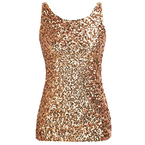 96d2cc35d7be4 PrettyGuide Women s Shimmer Glam Sequin Embellished Sparkle Tank Top Vest  Tops