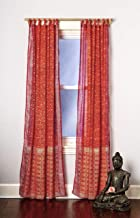 Orange Pink Curtain Set Boho Window Treatment Light Sari 108 96 84 inch for Bedroom Living room Dining room Kids Yoga Studio Canopy Bed Tent Hippie Gypsy Chic Bright Colorful HomeDecor W Gift bag