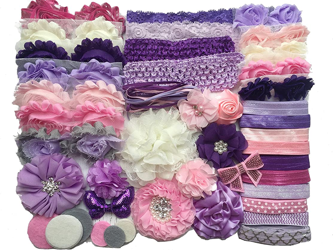 Bowtique Emilee Baby Shower Headband Kit DIY Headband Kit makes over 30 Headbands - Purples and Pinks