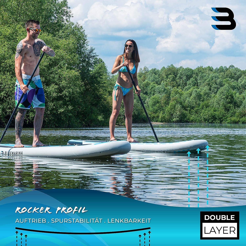 bis 180 kg Tragkraft Double Layer PVC 325x85x15 cm /& 300x75x10 cm Doppelhub Pumpe Miweba Sports Stand Up Paddling Board aufblasbar 3 Finnen