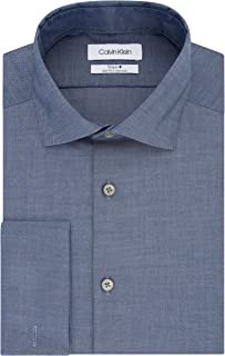 Men's Dress Shirt Slim Fit Non Iron Solid French Cuff