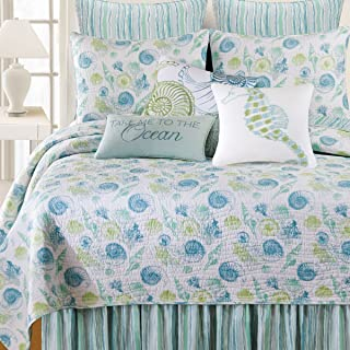 C&F Home St. Augustine 3 Piece Quilt Set All-Season Reversible Bedspread Oversized Bedding Coverlet, King Size, Blue