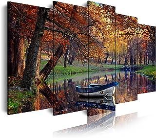 DekoArte - Cuadros Modernos Impresión de Imagen Artística Digitalizada   Lienzo Decorativo Para Tu Salón o Dormitorio    Estilo Paisaje Otoño con Agua Tonos Marornes Naturaleza   5 Piezas 150 x 80 cm