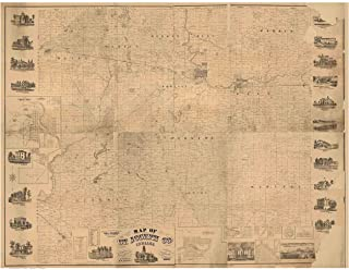 St. Joseph County Indiana 1863 - Wall Map with Landowner Names Farm Lines Genealogy Old Map Reprint
